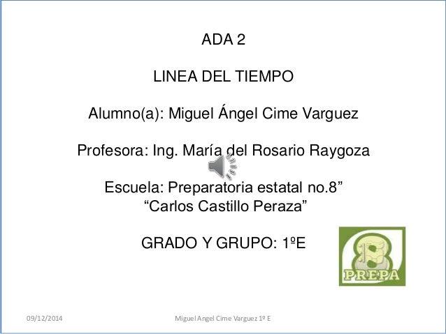 ADA 2  LINEA DEL TIEMPO  Alumno(a): Miguel Ángel Cime Varguez  Profesora: Ing. María del Rosario Raygoza  Escuela: Prepara...