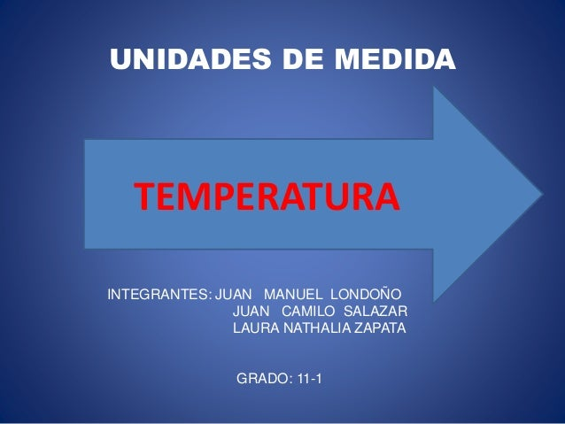 UNIDADES DE MEDIDA TEMPERATURA INTEGRANTES: JUAN MANUEL LONDOÑO JUAN CAMILO SALAZAR LAURA NATHALIA ZAPATA GRADO: 11-1