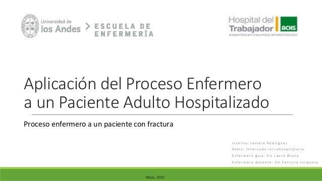 Aplicación del Proceso Enfermero a un Paciente Adulto Hospitalizado I n t e r n a : J a v i e r a R o d r í g u e z R a m ...