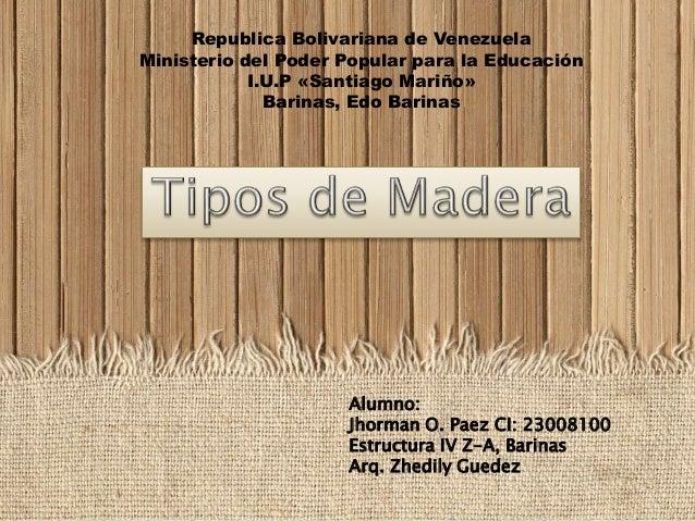 Republica Bolivariana de Venezuela Ministerio del Poder Popular para la Educación I.U.P «Santiago Mariño» Barinas, Edo Bar...