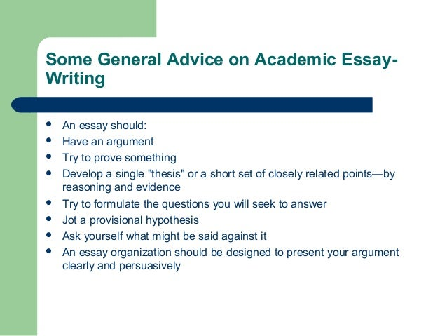 Some advice on writing essay on this topic?