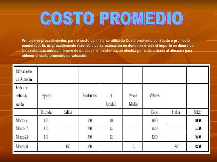 COSTO PROMEDIO Principales procedimientos para el costo del material utilizado Costo promedio constante o promedio pondera...
