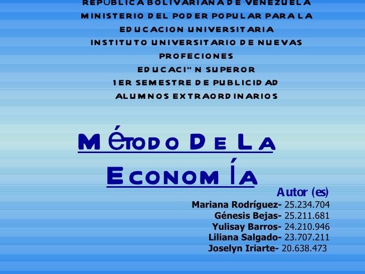 REPÚBLICA BOLIVARIANA DE VENEZUELA MINISTERIO DEL PODER POPULAR PARA LA EDUCACION UNIVERSITARIA INSTITUTO UNIVERSITARIO DE...