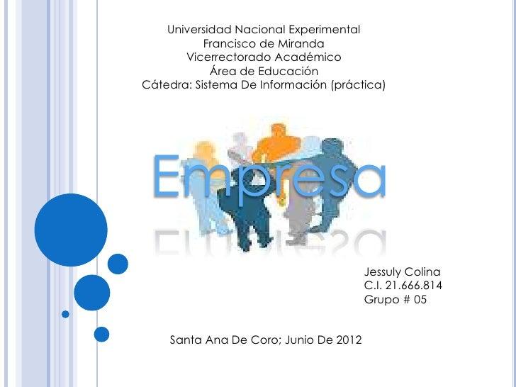 Universidad Nacional Experimental           Francisco de Miranda       Vicerrectorado Académico            Área de Educaci...