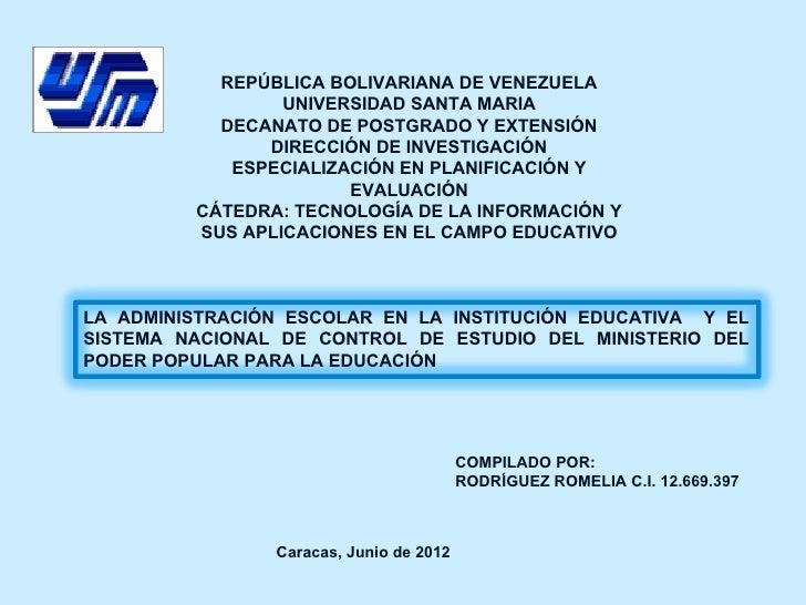 REPÚBLICA BOLIVARIANA DE VENEZUELA                 UNIVERSIDAD SANTA MARIA           DECANATO DE POSTGRADO Y EXTENSIÓN    ...