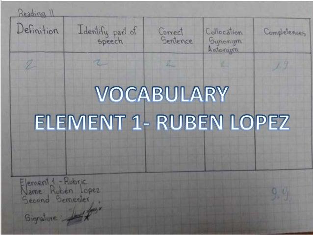 LOPEZ ESTRELLA RUBEN- ELEMENT 1 VOCABULARY-READING II