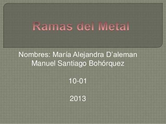 Nombres: María Alejandra D'aleman Manuel Santiago Bohórquez 10-01 2013
