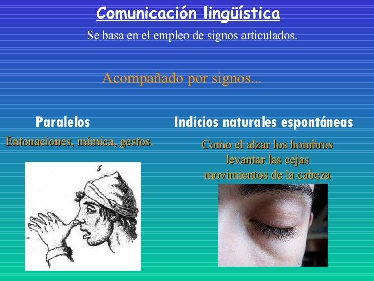 Comunicación lingüística Se basa en el empleo de signos articulados. Paralelos Acompañado por signos... Entonaciones, mími...