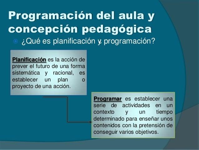 Programación del aula yconcepción pedagógica ¿Qué es planificación y programación?¿Planificación es la acción deprever el...