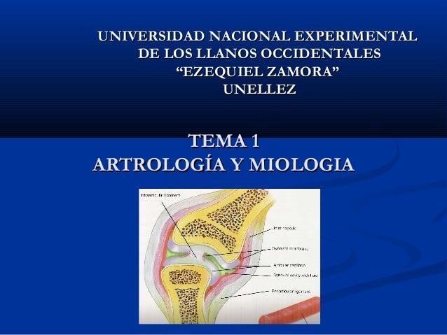 TEMA 1TEMA 1 ARTROLOGÍA Y MIOLOGIAARTROLOGÍA Y MIOLOGIA UNIVERSIDAD NACIONAL EXPERIMENTALUNIVERSIDAD NACIONAL EXPERIMENTAL...