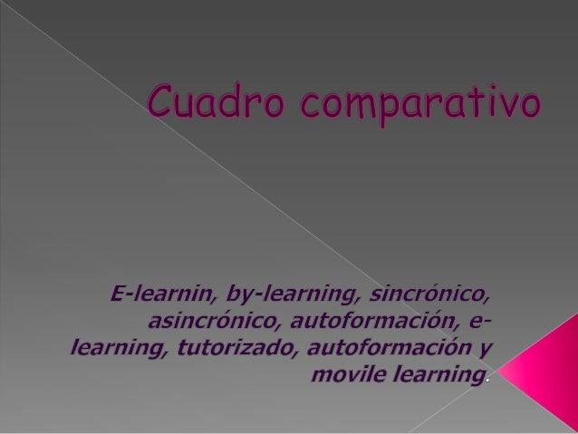 E-LEARNING  • • • •  B- LEARNING SINCRONICA  Desde un punto de vista tecnológico, el eLearning se basa en el uso masivo de...