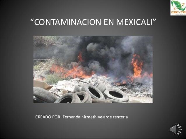 """""""CONTAMINACION EN MEXICALI"""" CREADO POR: Fernanda nizmeth velarde renteria"""