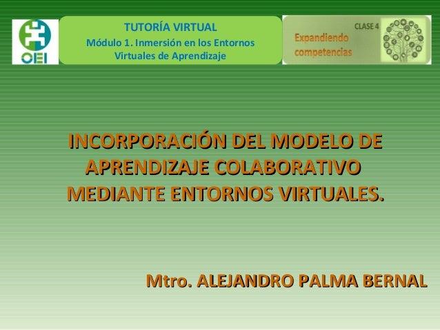 TUTORÍA VIRTUAL Módulo 1. Inmersión en los Entornos Virtuales de Aprendizaje INCORPORACIÓN DEL MODELO DEINCORPORACIÓN DEL ...
