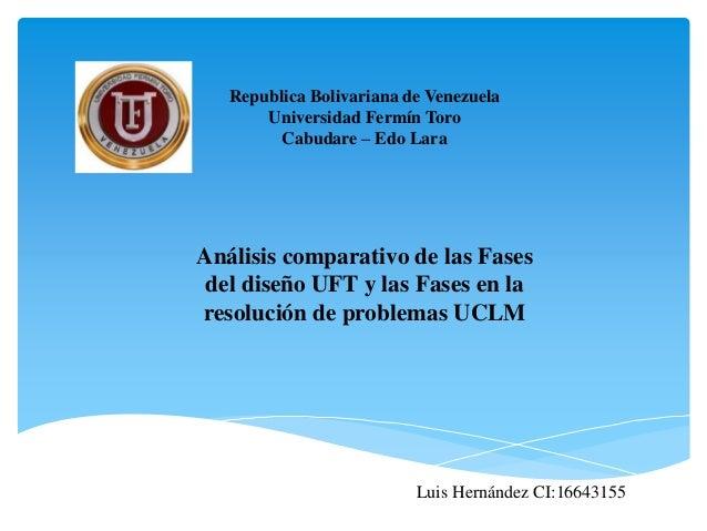 Republica Bolivariana de Venezuela Universidad Fermín Toro Cabudare – Edo Lara Análisis comparativo de las Fases del diseñ...