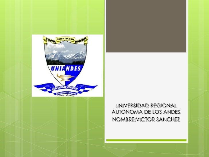 UNIVERSIDAD REGIONALAUTONOMA DE LOS ANDESNOMBRE:VICTOR SANCHEZ