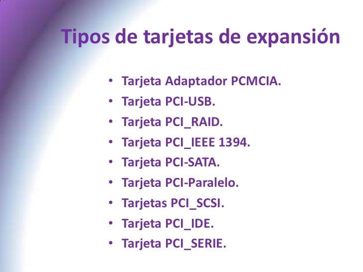 Tipos Tarjetas de Expansion Tipos de Tarjetas de
