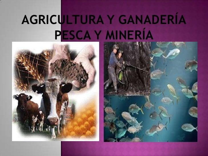 AGRICULTURA Y GANADERÍA     PESCA Y MINERÍA