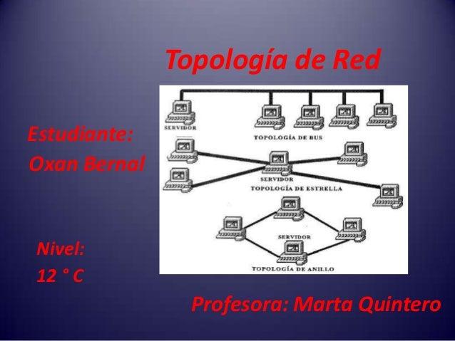 Topología de RedEstudiante:Oxan BernalNivel:12 ° C               Profesora: Marta Quintero