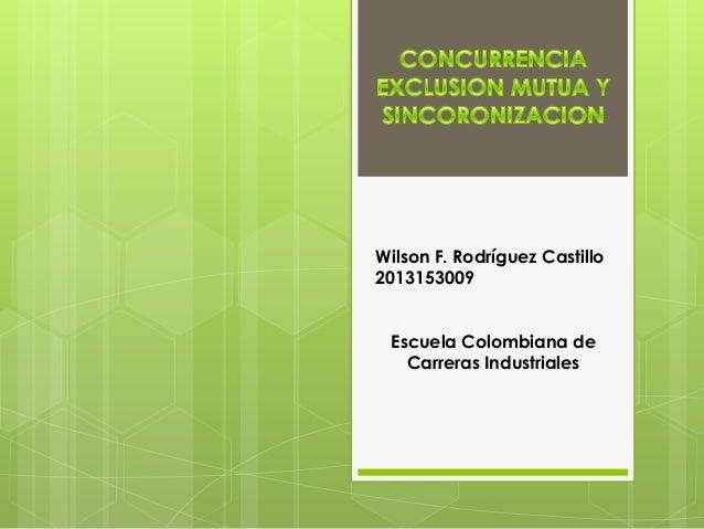 Wilson F. Rodríguez Castillo 2013153009 Escuela Colombiana de Carreras Industriales