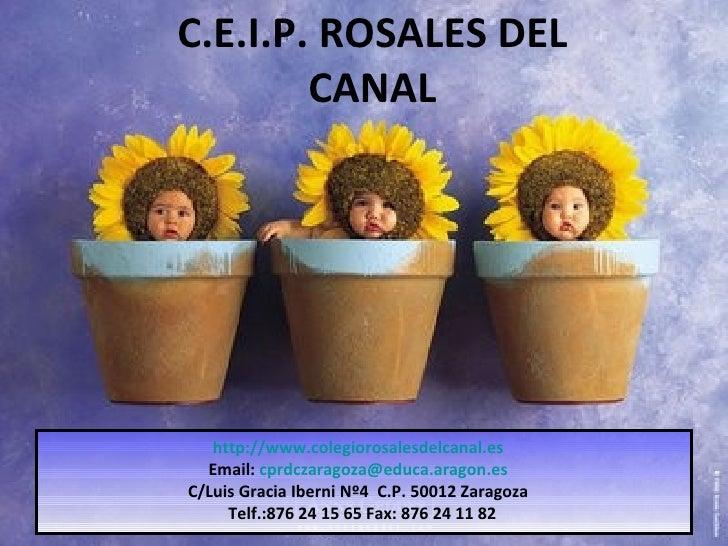 C.E.I.P. ROSALES DEL CANAL http://www.colegiorosalesdelcanal.es Email:  [email_address] C/Luis Gracia Iberni Nº4  C.P. 500...