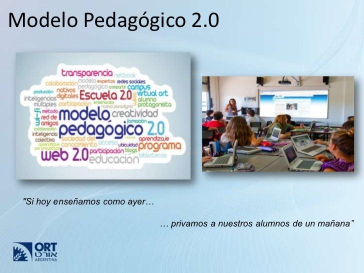 """Modelo Pedagógico 2.0 """"Si hoy enseñamos como ayer…                                … privamos a nuestros alumnos de un maña..."""