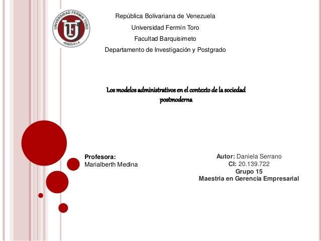 República Bolivariana de Venezuela Universidad Fermín Toro Facultad Barquisimeto Departamento de Investigación y Postgrado...