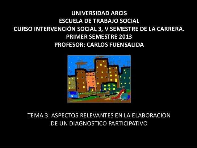 UNIVERSIDAD ARCISESCUELA DE TRABAJO SOCIALCURSO INTERVENCIÓN SOCIAL 3, V SEMESTRE DE LA CARRERA.PRIMER SEMESTRE 2013PROFES...