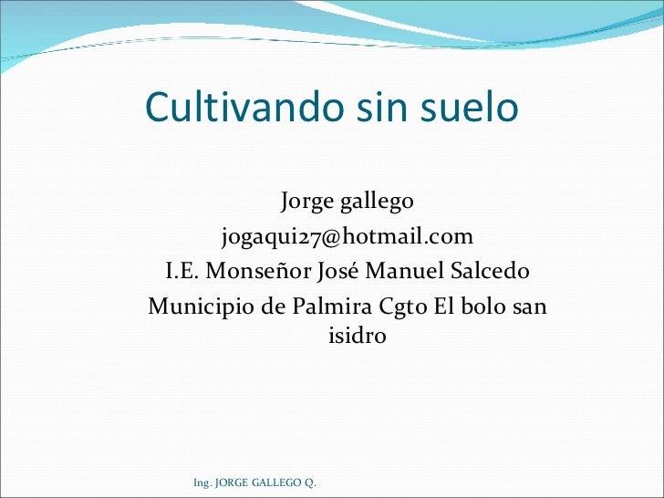Cultivando sin suelo <ul><li>Jorge gallego </li></ul><ul><li>[email_address] </li></ul><ul><li>I.E. Monseñor José Manuel S...