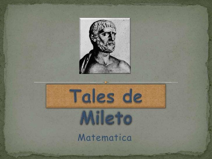 BIOGRAFIA TALES DE MILETO