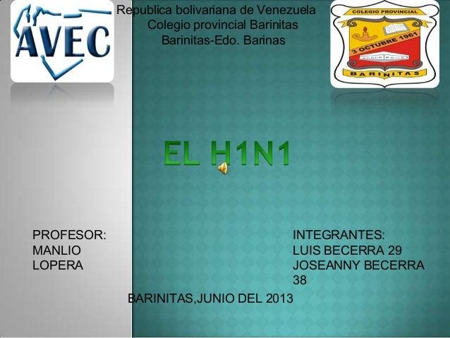 Republica bolivariana de VenezuelaColegio provincial BarinitasBarinitas-Edo. BarinasINTEGRANTES:LUIS BECERRA 29JOSEANNY BE...