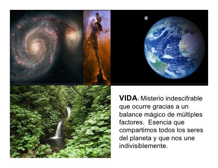 VIDA: Misterio indescifrable que ocurre gracias a un balance mágico de múltiples factores. Esencia que compartimos todos l...