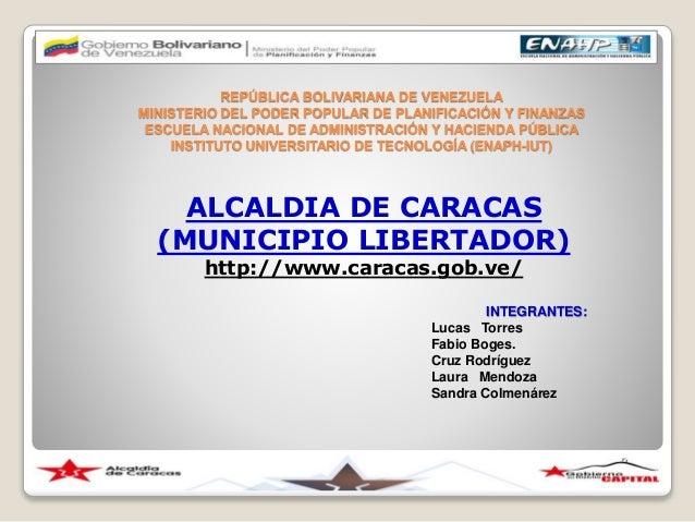 REPÚBLICA BOLIVARIANA DE VENEZUELA MINISTERIO DEL PODER POPULAR DE PLANIFICACIÓN Y FINANZAS ESCUELA NACIONAL DE ADMINISTRA...
