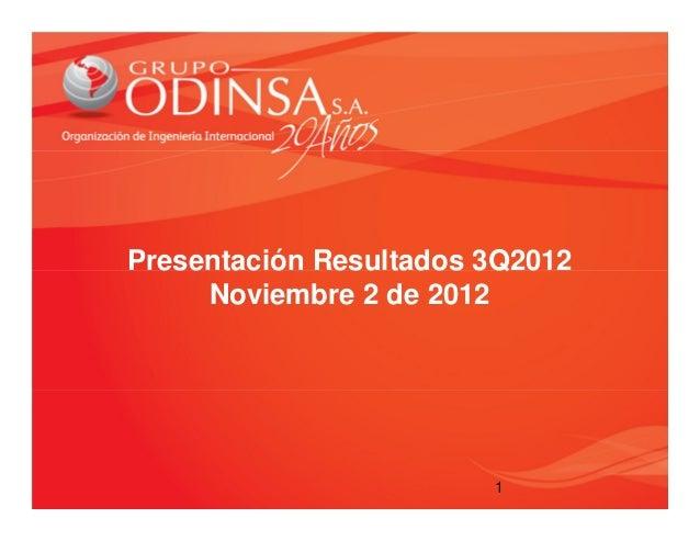 Presentación Resultados 3Q2012     Noviembre 2 de 2012                        1