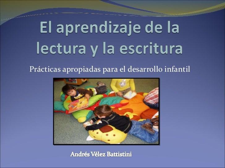 Prácticas apropiadas para el desarrollo infantil