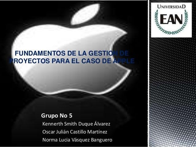 Grupo No 5Kennerth Smith Duque ÁlvarezOscar Julián Castillo MartínezNorma Lucia Vásquez BangueroFUNDAMENTOS DE LA GESTION ...