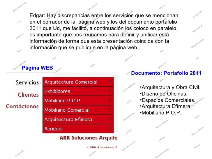Edgar: Hay discrepancias entre los servicios que se mencionan en el borrador de la  página web y los del documento portafo...