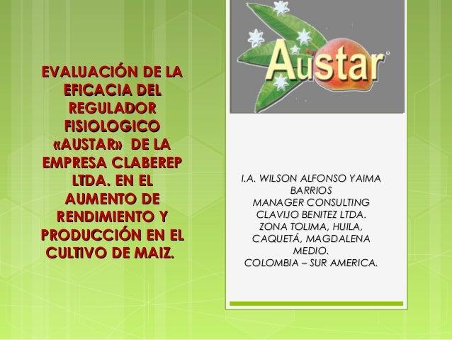 EVALUACIÓN DE LA   EFICACIA DEL    REGULADOR   FISIOLOGICO  «AUSTAR» DE LAEMPRESA CLABEREP    LTDA. EN EL     I.A. WILSON ...