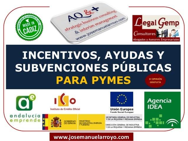 INCENTIVOS, AYUDAS Y SUBVENCIONES PÚBLICAS PARA PYMES www.josemanuelarroyo.com
