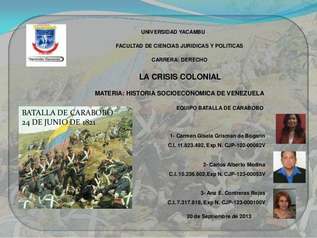 UNIVERSIDAD YACAMBU FACULTAD DE CIENCIAS JURIDICAS Y POLITICAS CARRERA: DERECHO LA CRISIS COLONIAL MATERIA: HISTORIA SOCIO...