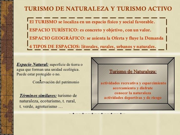 TURISMO DE NATURALEZA Y TURISMO ACTIVO El TURISMO se localiza en un espacio físico y social favorable. ESPACIO TURÍSTICO: ...