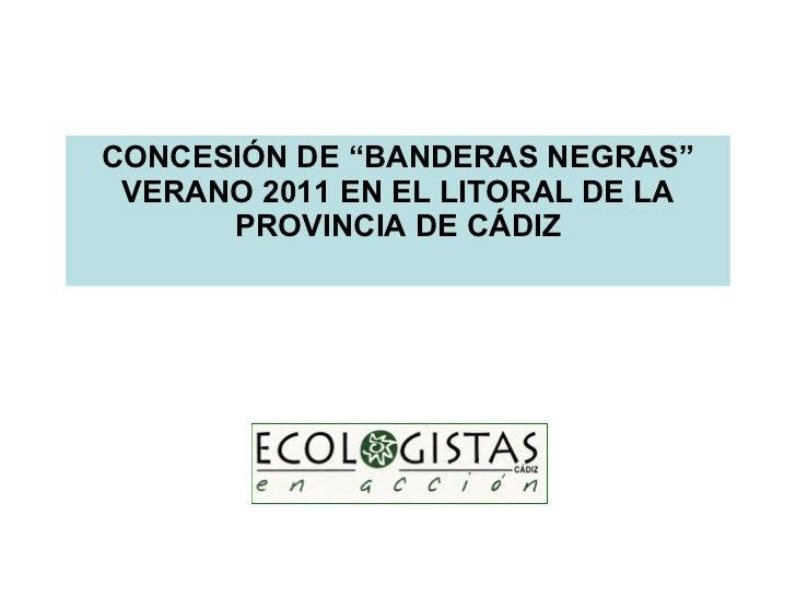 """CONCESIÓN DE """"BANDERAS NEGRAS"""" VERANO 2011 EN EL LITORAL DE LA PROVINCIA DE CÁDIZ"""