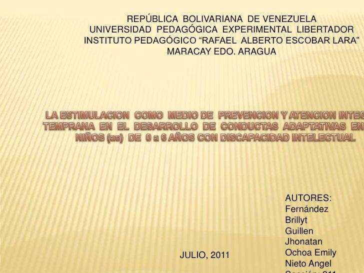 "REPÚBLICA BOLIVARIANA DE VENEZUELA UNIVERSIDAD PEDAGÓGICA EXPERIMENTAL LIBERTADORINSTITUTO PEDAGÓGICO ""RAFAEL ALBERTO ESCO..."