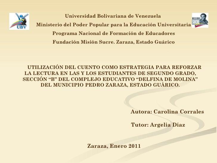 Universidad Bolivariana de Venezuela   Ministerio del Poder Popular para la Educación Universitaria Programa Nacional de F...