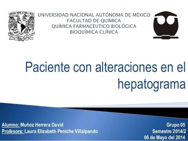 Paciente con alteraciones en el hepatograma Alumno: Muñoz Herrera David Grupo 05 Profesora: Laura Elizabeth Peniche Villal...