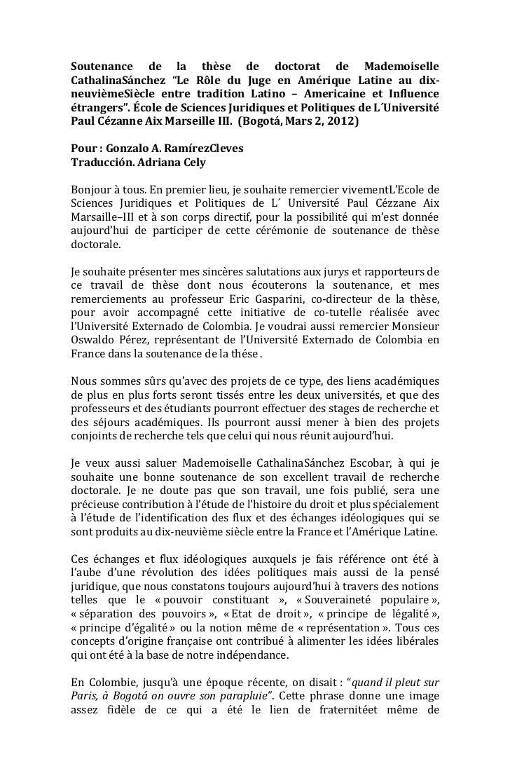 """Soutenance de la thèse de doctorat de MademoiselleCathalinaSánchez """"Le Rôle du Juge en Amérique Latine au dix-neuvièmeSièc..."""