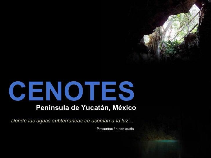 CENOTES Península de Yucatán, México Donde las aguas subterráneas se asoman a la luz… Presentación con audio