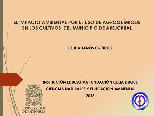 EL IMPACTO AMBIENTAL POR EL USO DE AGROQUÍMICOS EN LOS CULTIVOS DEL MUNICIPIO DE ABEJORRAL CIUDADANOS CRÍTICOS INSTITUCIÓN...