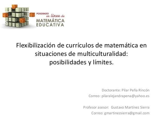 Flexibilización de currículos de matemática en situaciones de multiculturalidad: posibilidades y límites.  Doctorante: Pil...