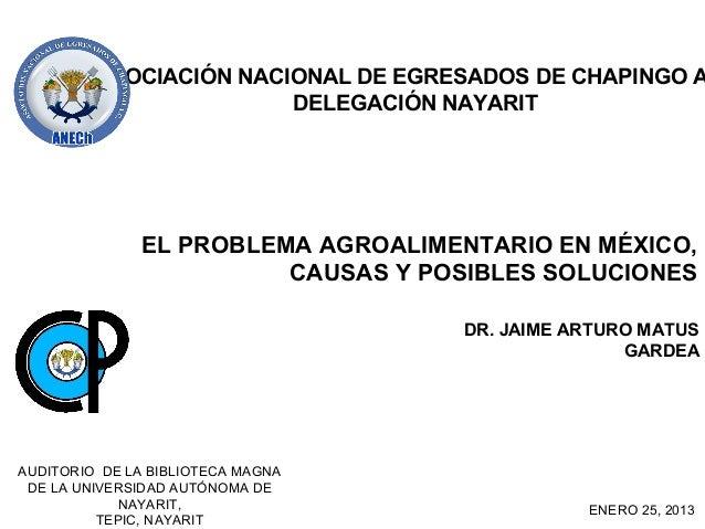 ASOCIACIÓN NACIONAL DE EGRESADOS DE CHAPINGO A                        DELEGACIÓN NAYARIT               EL PROBLEMA AGROALI...