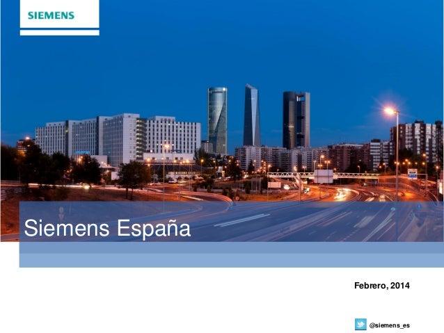 Presentación Corporativa Siemens España 2014